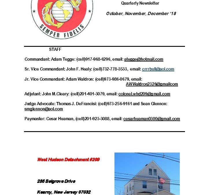 December 2018 West Hudson Detachment Newsletter