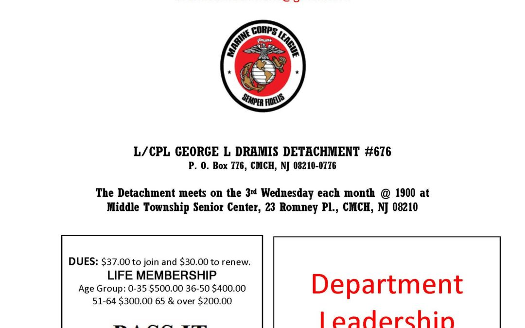 February 2019 Dramis Detachment Newsletter