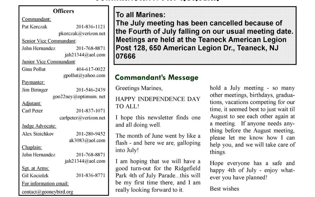 Gooney Bird Detachment July Newsletter