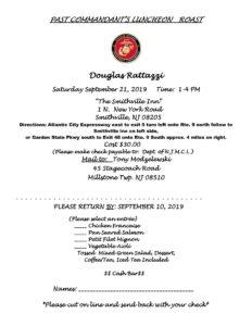2019 Doug Rattazzi  Commandants Roast Invitation @ The Smithville Inn | Galloway | New Jersey | United States