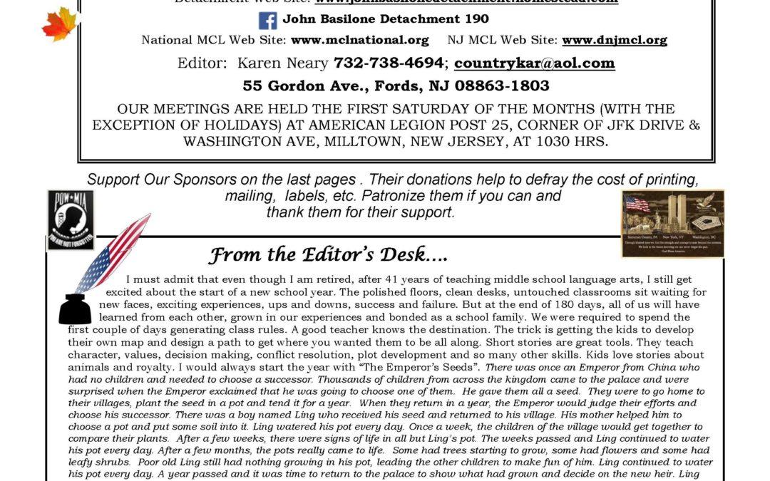 Basilone Detachment Sep/Oct Newsletter