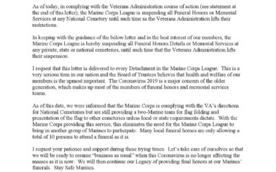 Temporary Procedures of Marine Corps League Assistance to Funeral Honors