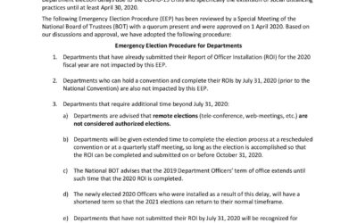 2020 Emergency Plan for Elections and Installations MCL League Departments