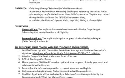 2020 Marine Corps League Delta Dental Scholarship Program