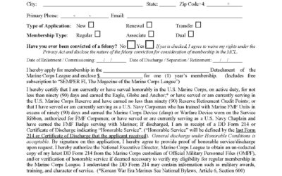 Marine Corps League Application for Membership