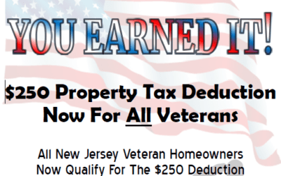 $250 Property Tax Deduction Available for all NJ veterans